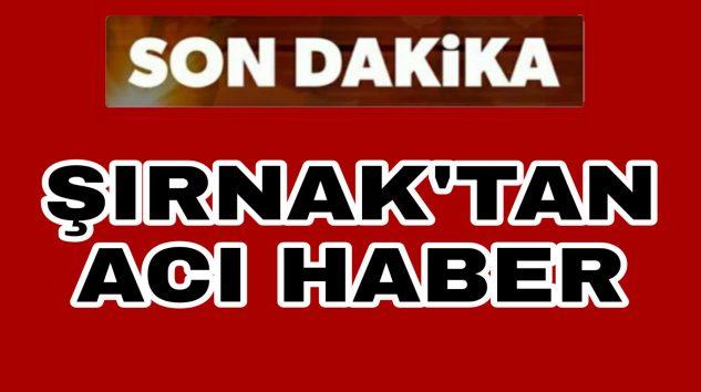 Şırnak'tan Acı Haber Şehidimiz var
