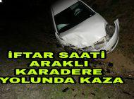 Karadere Yolunda Kaza İki araç kafa kafaya Çarpıştı