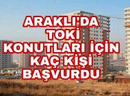 Araklı'da TOKİ'ye kaç kişi Başvuruda Bulundu kaç kişiye 1 daire düşüyor.